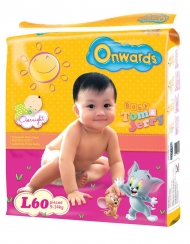 Onwards - Tom & Jerry baby diapers (Mega pack) - L60 (for babies 9-14kg)