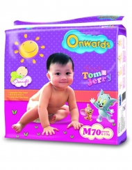 Onwards - Tom & Jerry baby diapers (Mega pack) - M70 (for babies 6-11kg)