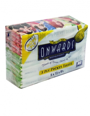 Onwards - Ladies Packet Tissue<br/> 5 Tubes x 12 Packs x 8 Sheets x 3 ply