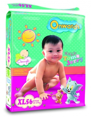 Onwards - Tom & Jerry baby diapers (Mega pack) - XL56 (for babies 12-17kg)