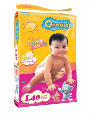 Onwards - Tom & Jerry baby diapers (Jumbo pack) - L40 (for babies 9-14kg)