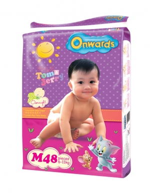 Onwards - Tom & Jerry baby diapers (Jumbo pack) - M48 (for babies 6-11kg)